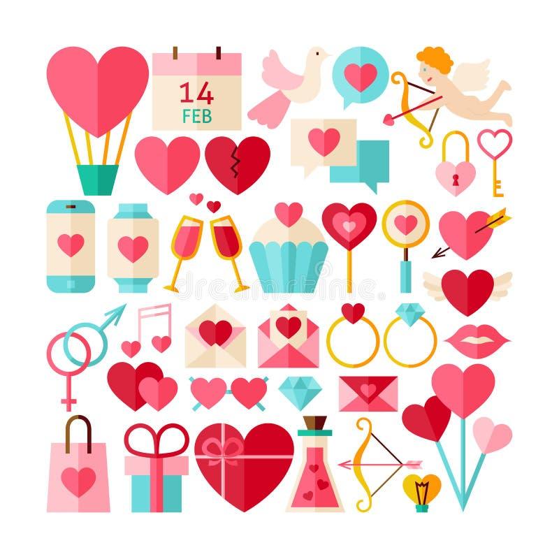 Grande collection plate de vecteur de style de Valentine Day Objects illustration libre de droits