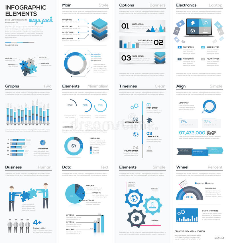 Grande colletion degli elementi infographic blu di vettore di affari illustrazione di stock
