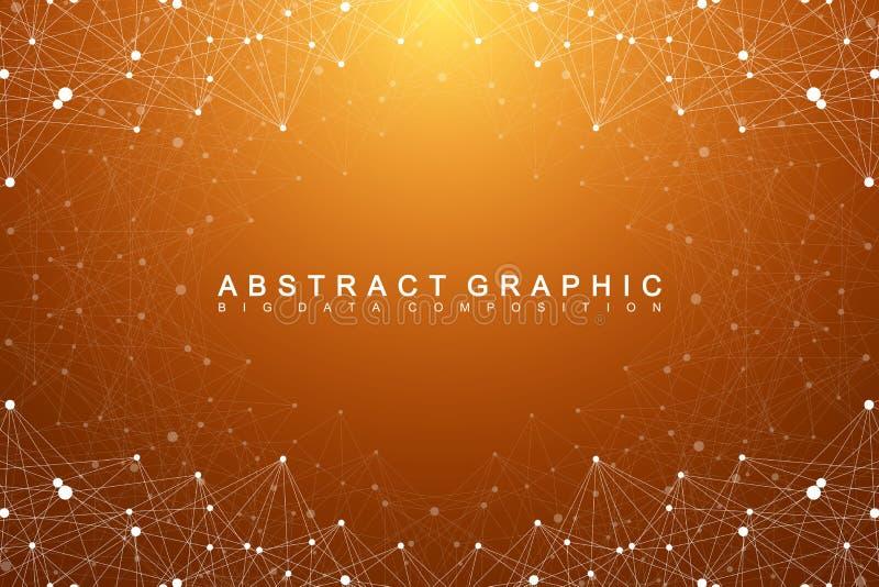 Grande complesso di dati Comunicazione astratta grafica del fondo Contesto di prospettiva di profondità Matrice minima con i comp illustrazione vettoriale
