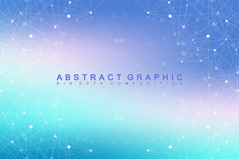 Grande complesso di dati Comunicazione astratta grafica del fondo Contesto di prospettiva di profondità Matrice minima con i comp royalty illustrazione gratis