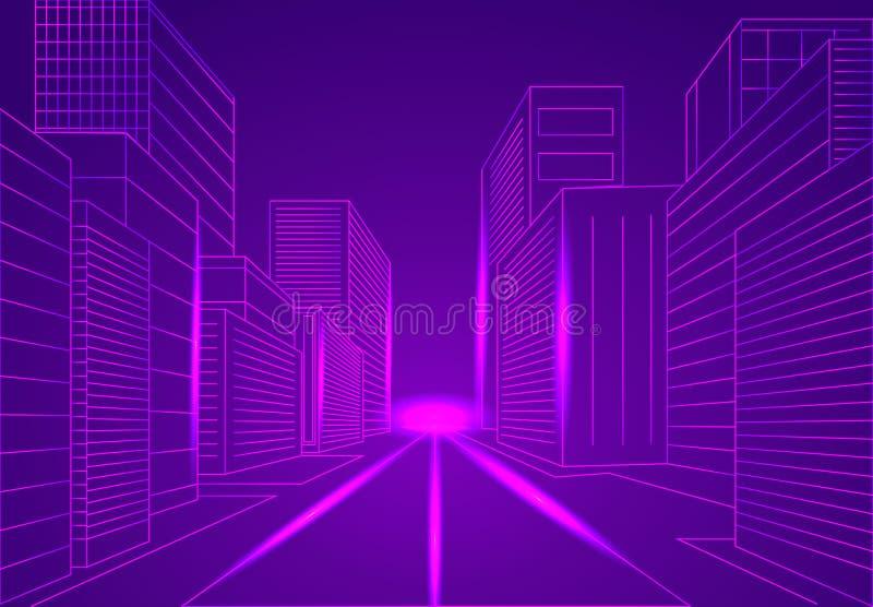 Grande concetto del wireframe di vettore della città illustrazione vettoriale