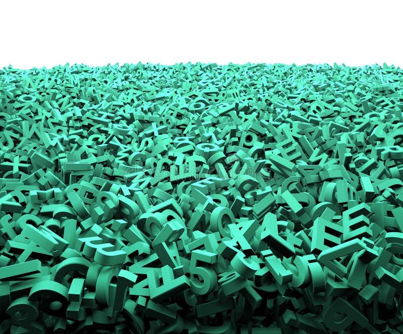 Grande concetto di dati, caratteri verdi enormi, illustrazione 3D illustrazione di stock