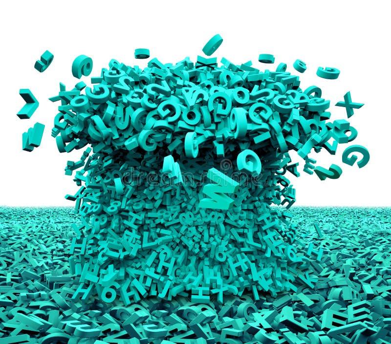 Grande concetto di dati I caratteri verdi enormi hanno formato le onde illustrazione 3D royalty illustrazione gratis