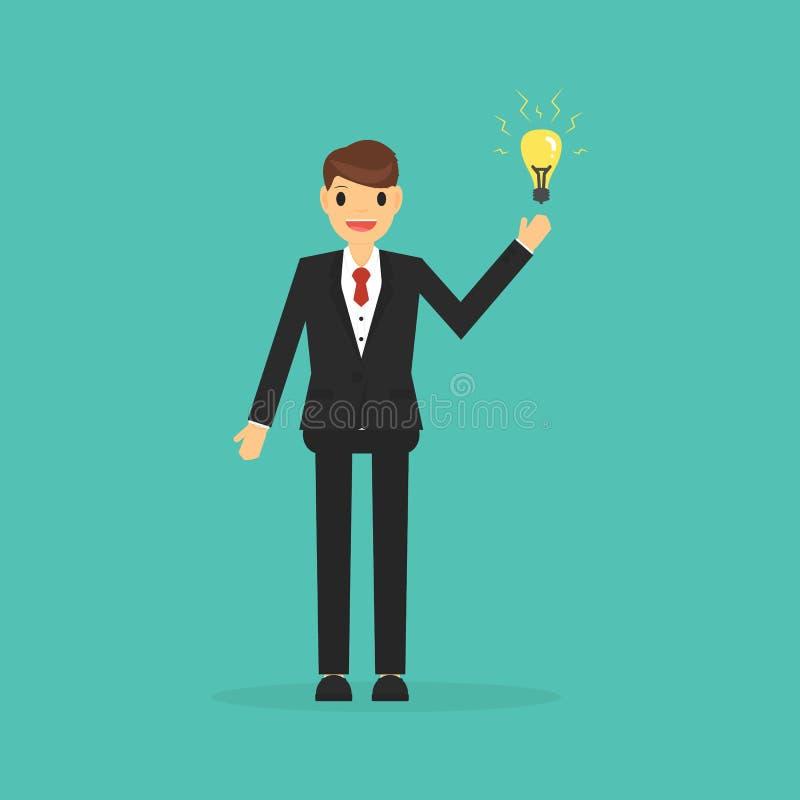 Grande concetto di idea con l'uomo d'affari e la lampadina Concetto dell'ha royalty illustrazione gratis