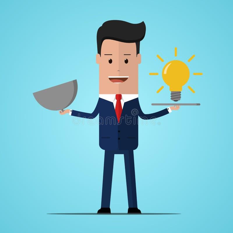 Grande concetto di idea con l'uomo e la lampadina Simbolo di avere un'idea con l'uomo d'affari Uomo d'affari che tiene un piatto  illustrazione vettoriale