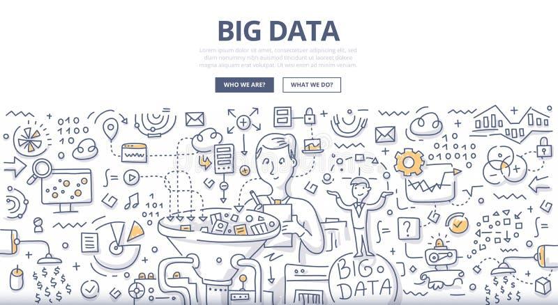 Grande concetto di scarabocchio di dati illustrazione di stock
