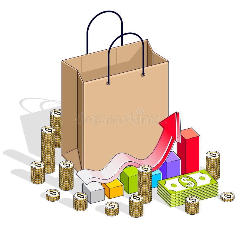 Grande concetto di vendita, vendita al dettaglio, tutto esaurito, sacchetto della spesa con le pile del denaro contante e grafico royalty illustrazione gratis