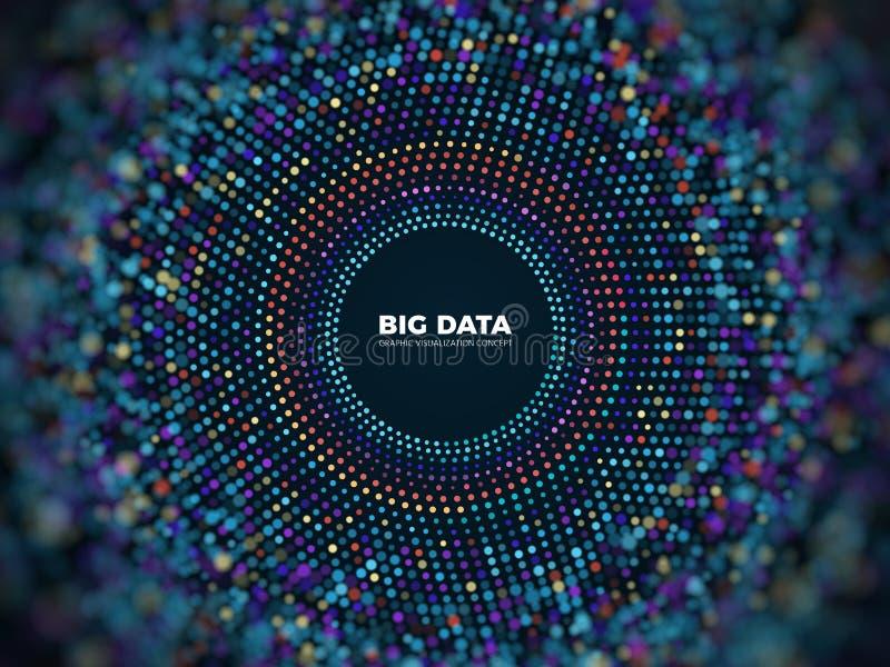 Grande concetto di vettore di informazioni di dati Fondo futuristico astratto con visualizzazione 3d illustrazione di stock