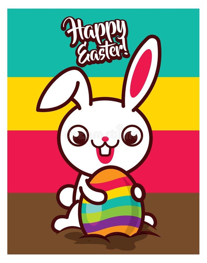 Grande coniglietto di pasqua felice del dente che tira l'uovo colourful da terra illustrazione vettoriale