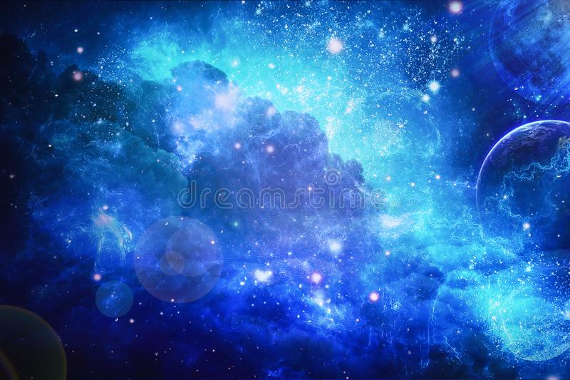 Grande conjunto de estrelas Nebulosa colorida Planetas e espa?o fotografia de stock