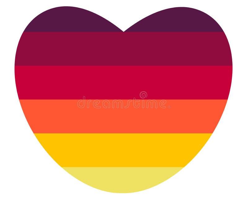 Grande coração colorido brilhante no fundo branco do inclinação ilustração stock