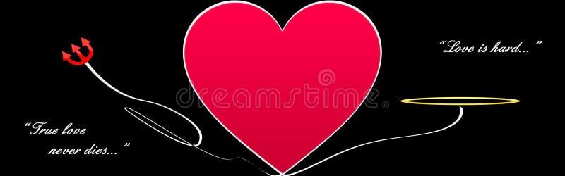 Grande coração no preto ilustração stock
