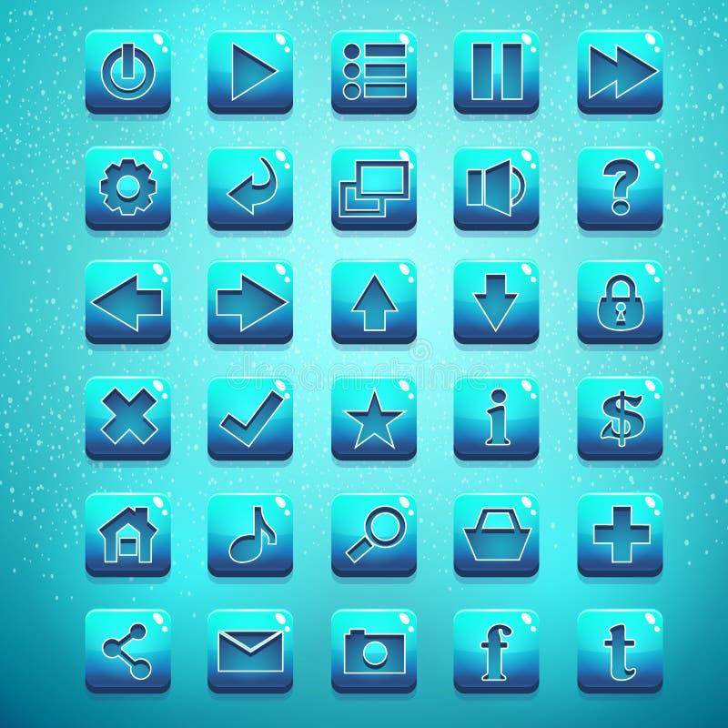 Grande corredo dei bottoni per l'interfaccia utente ed il web design royalty illustrazione gratis