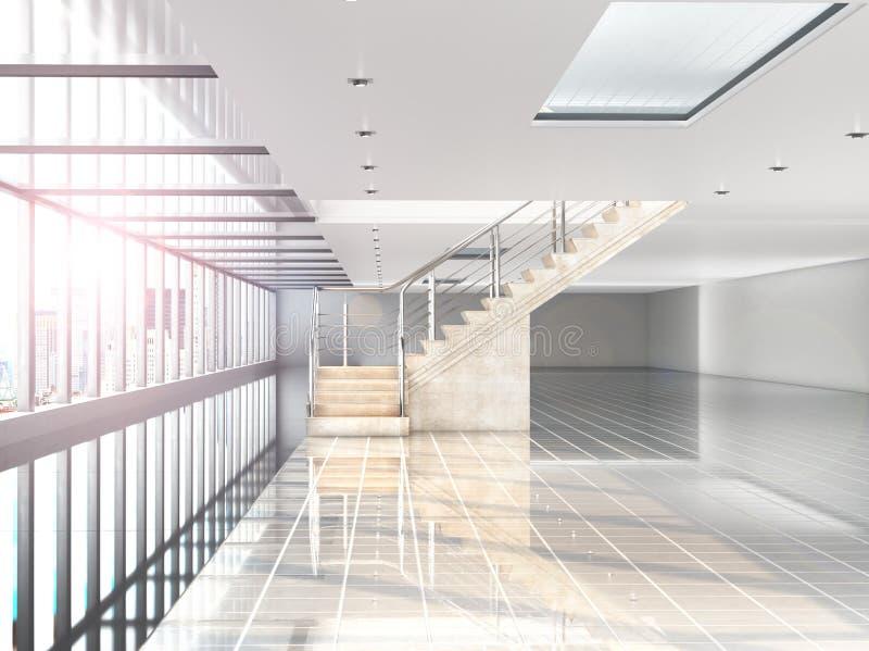 Grande corridoio bianco in cui c'è una finestra panoramica, una scala al secondo piano Costruzione nell'ambito del centro commerc royalty illustrazione gratis