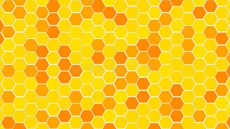 Grande couleur aléatoire de nid d'abeilles ou de cellules de grille de ruche d'or ou du ton jaune de couleur pour le fond ou la t illustration stock