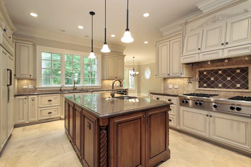 Grande cuisine avec le cabinetry en bois photos libres de droits