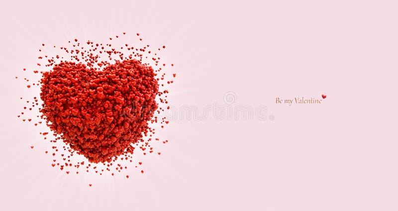 Grande cuore che consiste di piccoli cuori Scheda di giorno dei biglietti di S illustrazione vettoriale