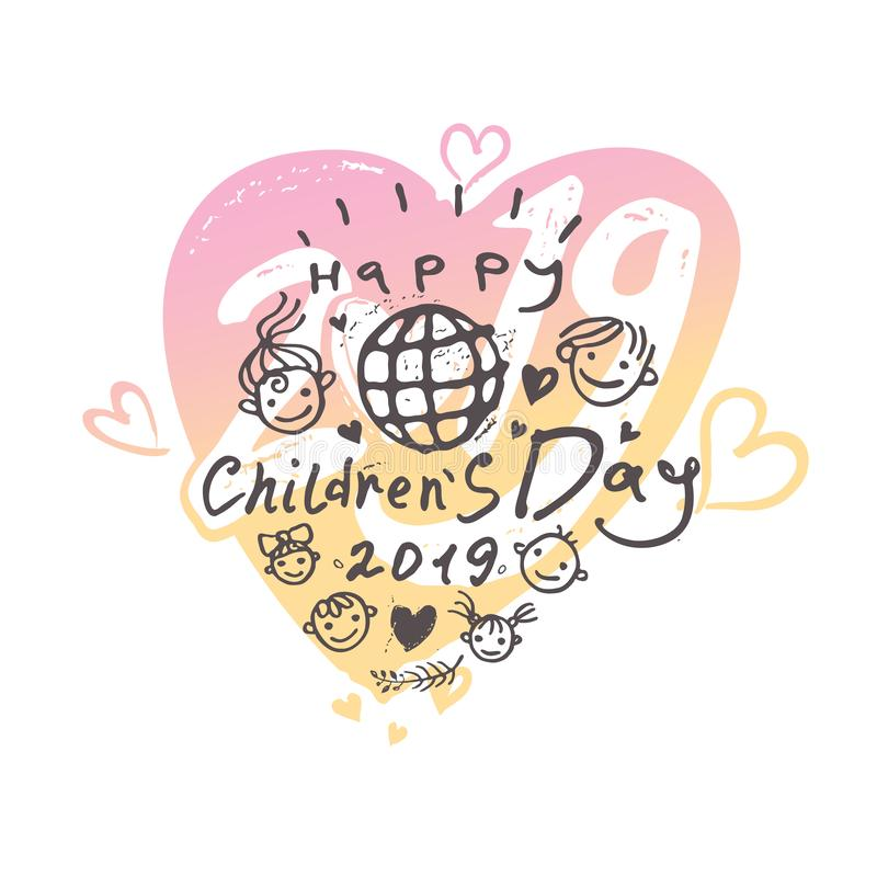 Grande cuore delicato per il giorno dei bambini Logo luminoso Ragazzi e modello sorridenti allegri delle ragazze al giorno 2019 d illustrazione di stock