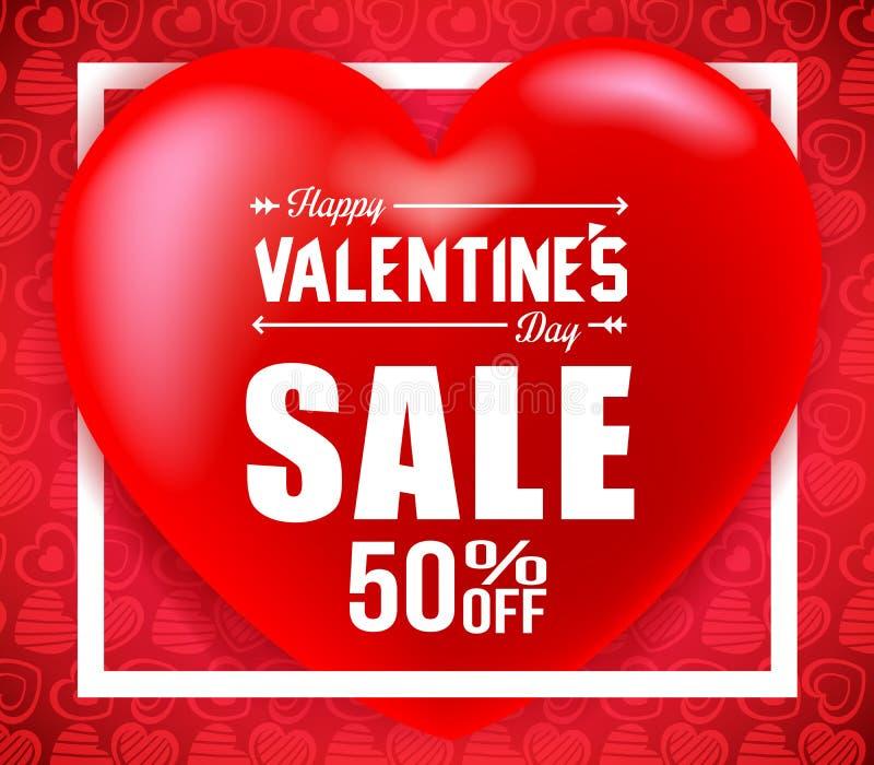 Grande cuore rosso con il manifesto creativo di vendita di giorno di biglietti di S. Valentino nel fondo rosso royalty illustrazione gratis
