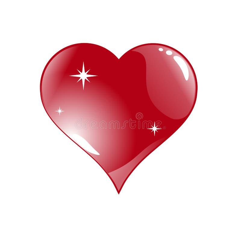 Grande cuore rosso, isolato su fondo bianco, illustrazione di vettore royalty illustrazione gratis