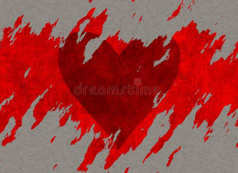 Grande cuore rosso strutturato dello strappo che attinge carta royalty illustrazione gratis