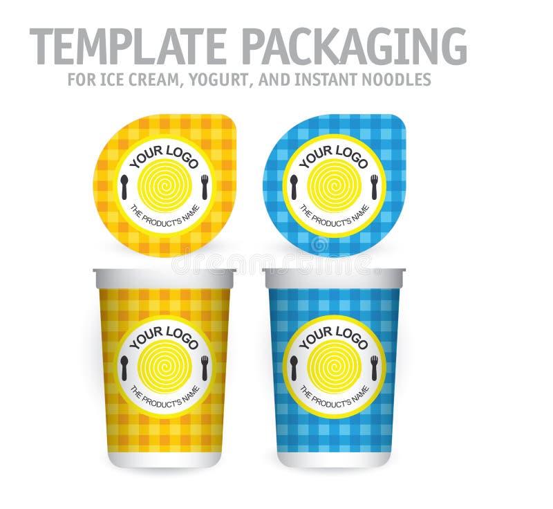 Grande cuvette blanche avec le couvercle pour le yaourt, la crème glacée, les nouilles instantanées ou la soupe illustration libre de droits