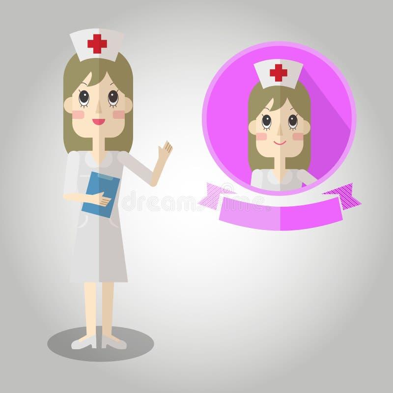 Grande del fumetto di Mascot dell'infermiere per qualsiasi uso Vettore eps10 illustrazione vettoriale