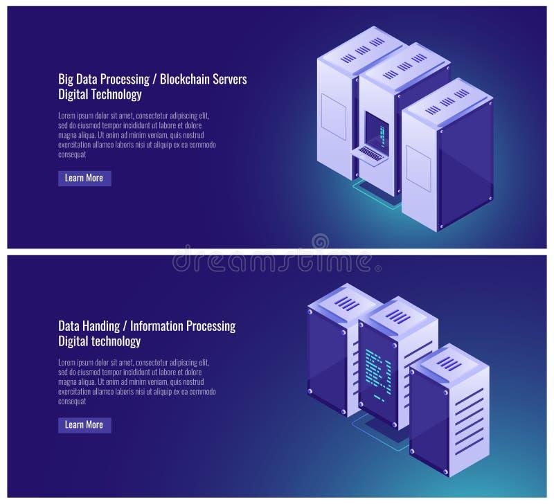 Grande, dell'elaborazione dei dati, stanza del server, ospitare, blockchian, dati che passano, computer, concetto dell'elaborator illustrazione di stock