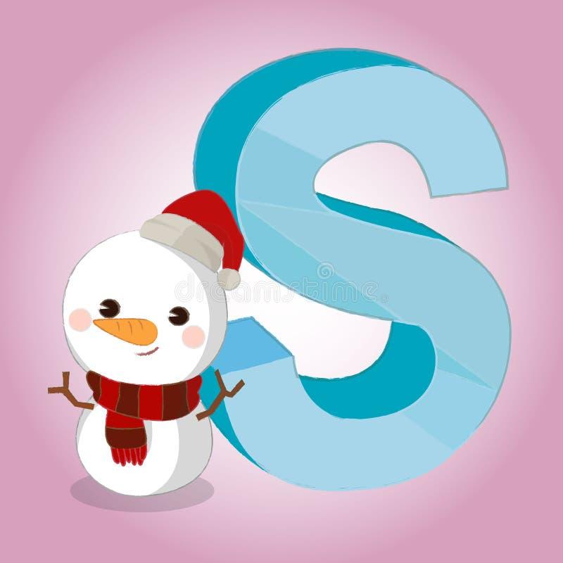 Grande dell'icona di alfabeto della neve di S per qualsiasi uso Vettore eps10 illustrazione di stock
