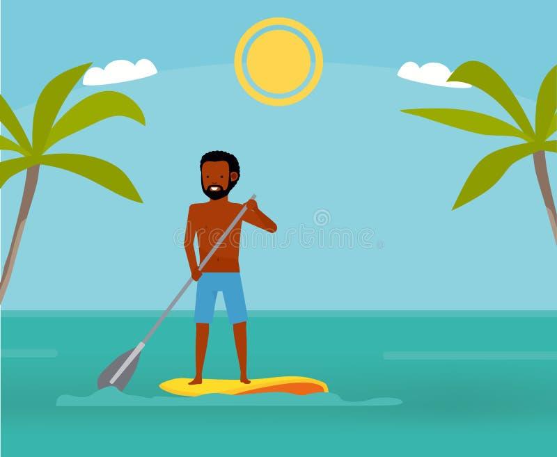 Grande dia a remar Homem considerável que surfa em no seu paddleboard e sorriso Conceito ativo do curso Estilo liso dos desenhos  ilustração do vetor