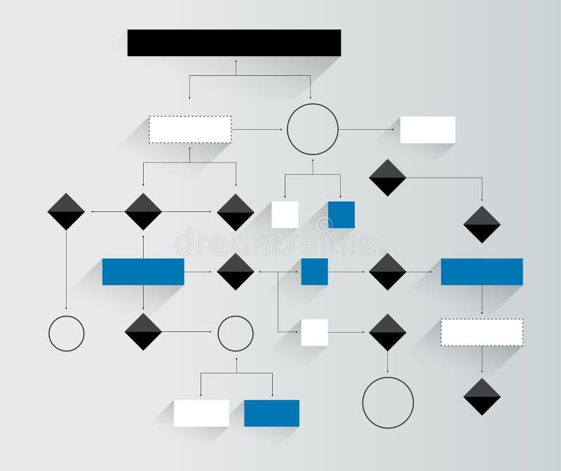 Grande diagramma di flusso Schema geometrico Elemento di infographics di presentazione senza testo illustrazione vettoriale