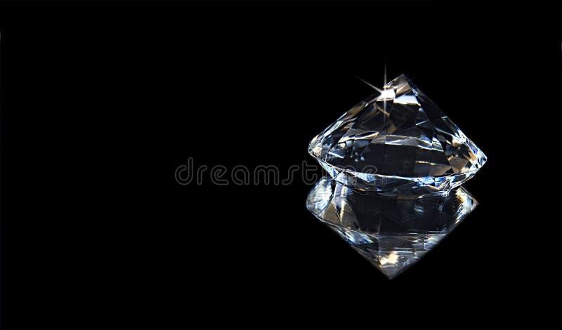 Grande diamante del Faux e la sua riflessione - fondo nero immagini stock libere da diritti