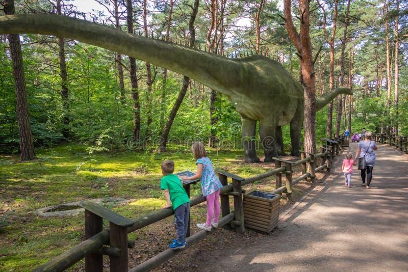 Grande Diplodocus no parque do dinossauro foto de stock royalty free