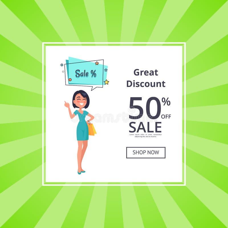 Grande disconto 50 fora do cartaz da loja agora com mulher ilustração stock