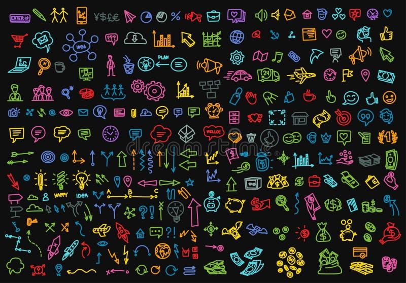 Grande disegno a tratteggio stabilito del profilo di schizzo delle icone di affari di colore a mano Vettore disegnato a mano dell illustrazione di stock