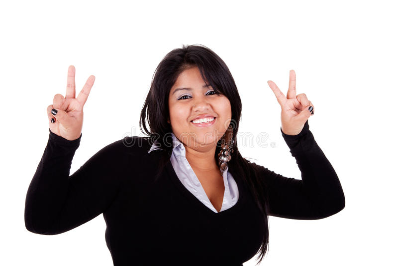 Grande donna latina felice, con i pollici alzati fotografie stock libere da diritti