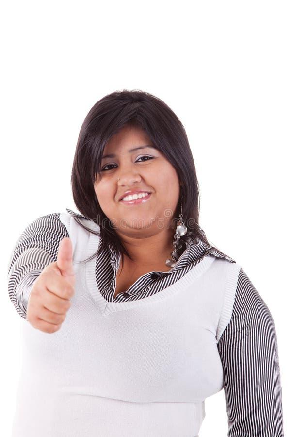 Grande donna latina felice, con il pollice in su fotografie stock libere da diritti