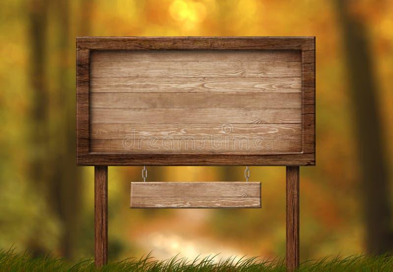 Grande double enseigne avec le fond en bois de forêt de cadre et d'automne illustration de vecteur