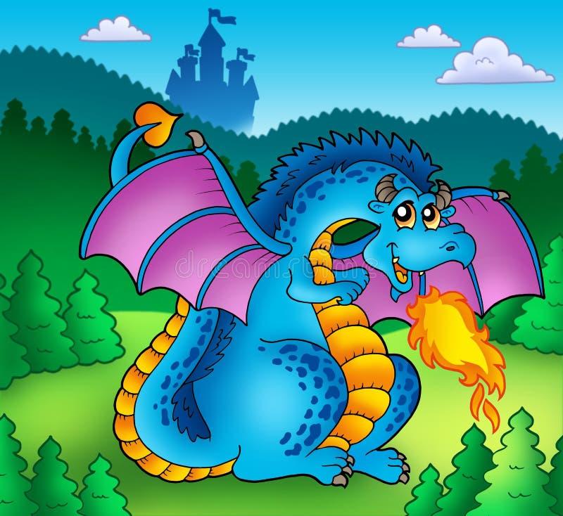 Grande drago blu del fuoco con il vecchio castello illustrazione vettoriale