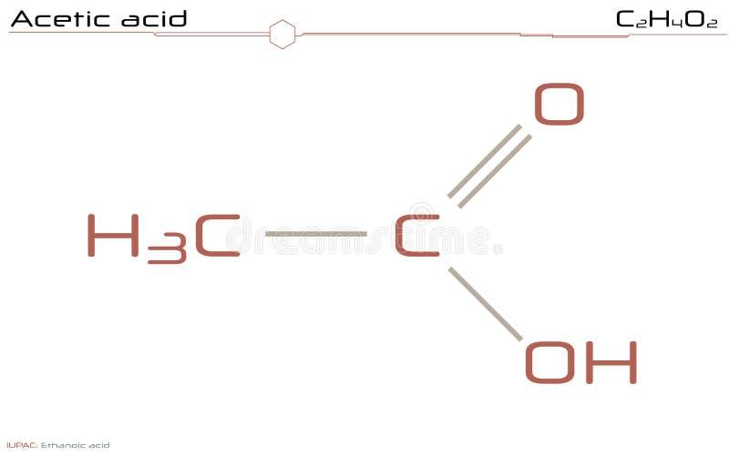 Grande e infographic detalhado da molécula do ácido acético ilustração do vetor