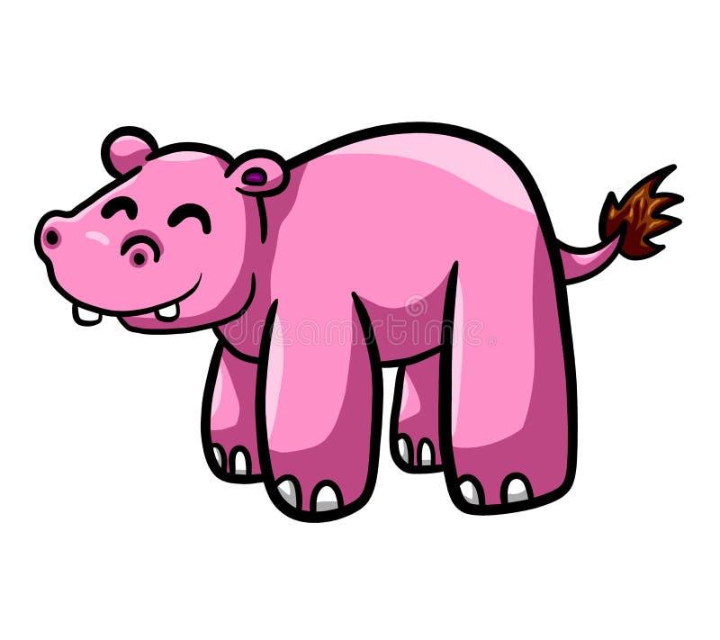 Grande e ippopotamo rosa felice illustrazione vettoriale