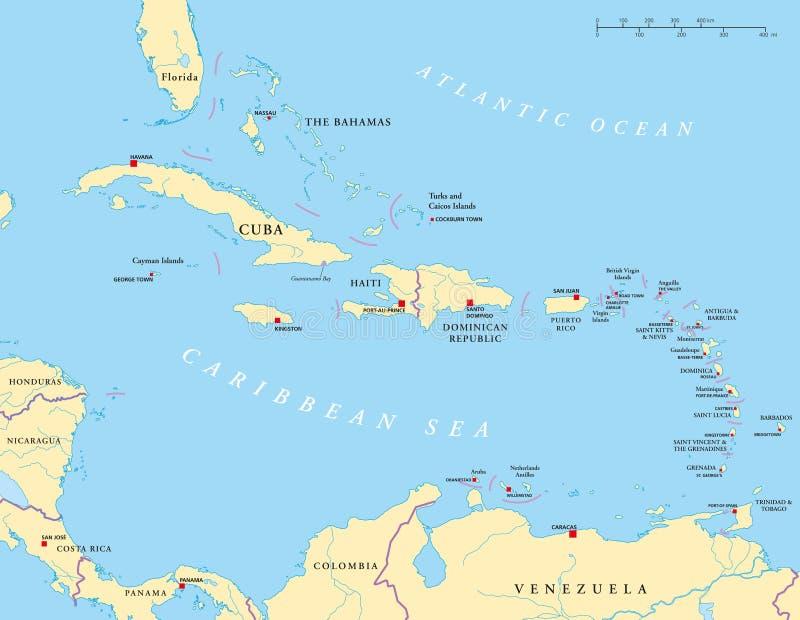 Grande e Lesser Antilles Political Map ilustração stock