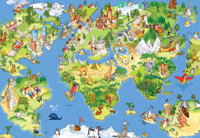 Grande e mapa de mundo engraçado ilustração stock
