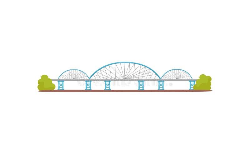 Grande e ponte de aço longa Infraestrutura de transporte urbano Construção para o transporte Vetor liso para o mapa da cidade ilustração do vetor