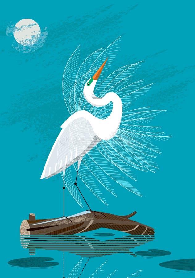 Grande Egret branco ilustração do vetor