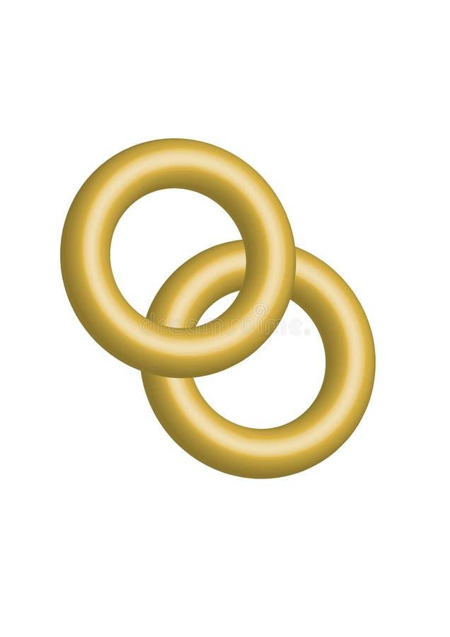 Grande el oro dos anillo de bodas junto el ejemplo del vector foto de archivo libre de regalías