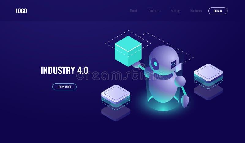 Grande elaborazione dei dati, industria 4 0, processo di automatizzazione, intelligenza artificiale ai, aiuto del robot, neon scu illustrazione di stock