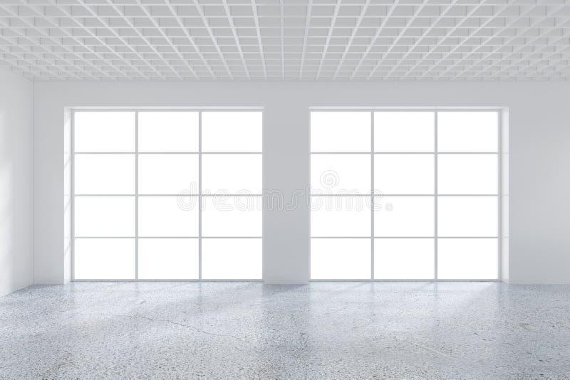 Grande escritório com janelas e luz de queda da janela ao assoalho rendição 3d ilustração stock