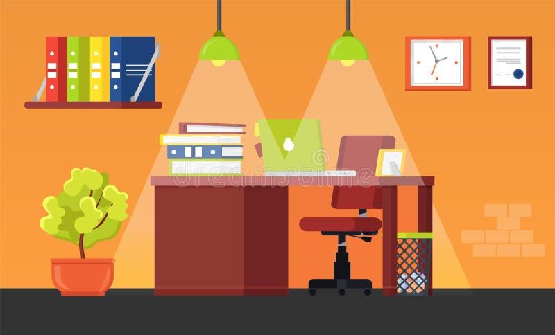 Grande escritório moderno com cadeira ilustração royalty free