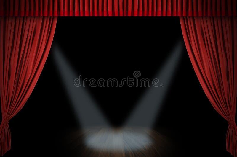 Grande estágio vermelho da cortina fotografia de stock